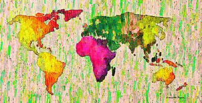 Graphic Painting - Abstract World Map Colorful 55 - Pa by Leonardo Digenio