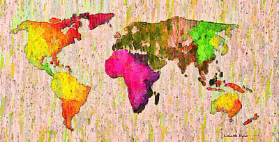 Borders Painting - Abstract World Map Colorful 56 - Pa by Leonardo Digenio
