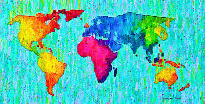 Wallpaper Digital Art - Abstract World Map Colorful 57 - Da by Leonardo Digenio
