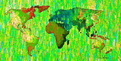 North Painting - Abstract World Map Colorful 58 - Da by Leonardo Digenio