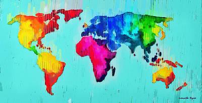 Global Digital Art - Abstract World Map - Da by Leonardo Digenio