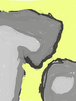 Digital Art - Abstract Yellow And Grey by Keshava Shukla