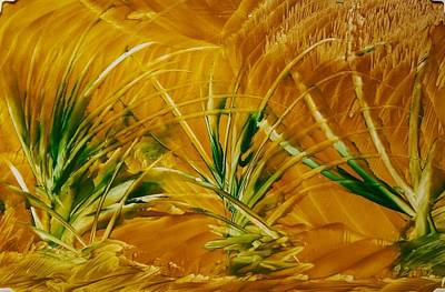 Painting - Abstract Yellow, Green Fields   by Lorraine Bradford