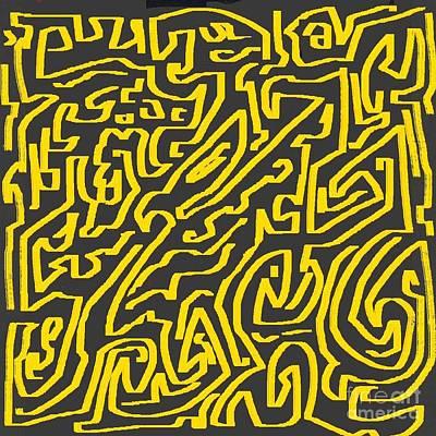 Eliso Digital Art - Abstract Yellow Grey by Eliso Ignacio Silva