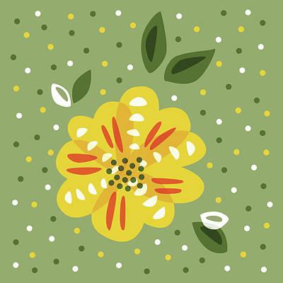 Abstract Yellow Primrose Flower Art Print by Boriana Giormova