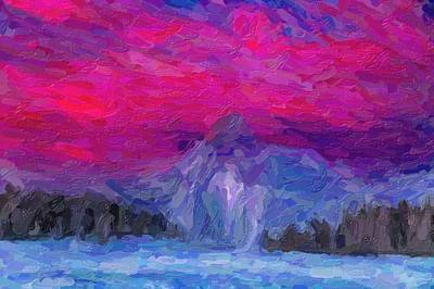 Abstract Painting - Abstract Yellowstone Gayser In Sunset by Celestial Images