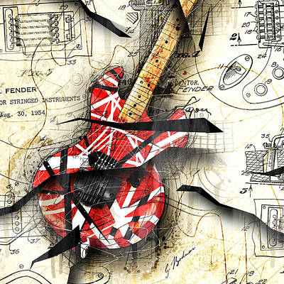 Guitars Digital Art - Abstracta 35 Eddie's Guitar by Gary Bodnar