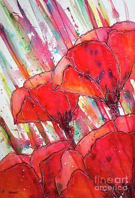 Painting - Abstracted Poppies No.2 by Rebecca Davis