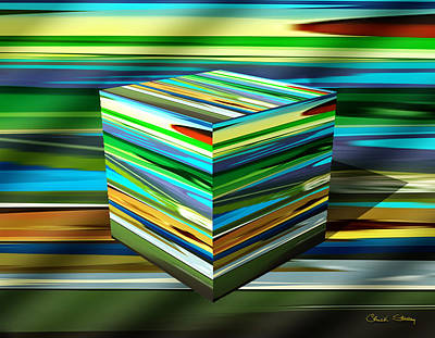 Digital Art - Abstraction 7 Cube by Chuck Staley