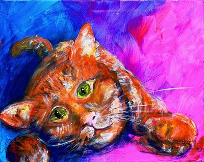 Orange Tabby Painting - Abstrcat by J Vincent Scarpace