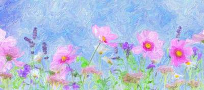 Abstrct Wild Flowers 2 Art Print by Celestial Images
