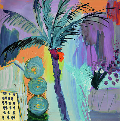 Painting - Abtract, Landscape With Palm Tree In California by Amara Dacer