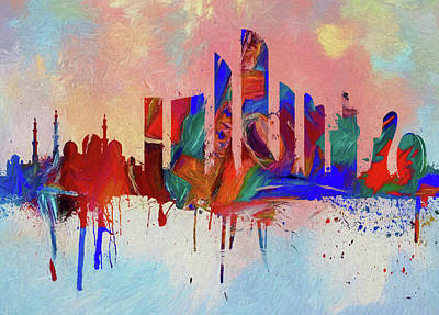 Painting - Abu Dhabi Colorful Skyline by Dan Sproul