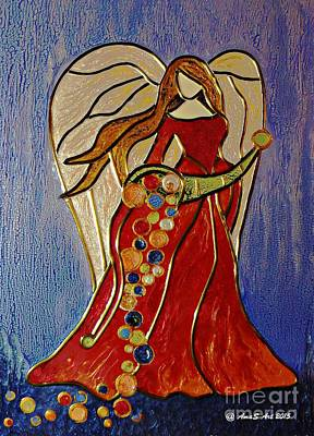 Mixed Media - Abundance Angel by AmaS Art
