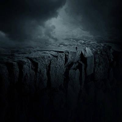 Dark Digital Art - Abyss by Zoltan Toth