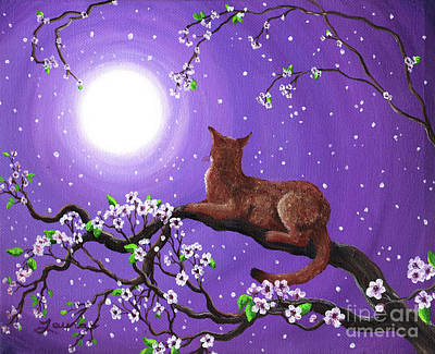 Surreal Art Painting - Abyssinian In Amethyst Moonlight by Laura Iverson