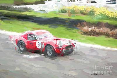 Digital Art - Ac Cobra Racing by Roger Lighterness