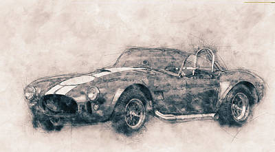 Transportation Mixed Media - AC Cobra - Shelby Cobra 1 - 1962s - Automotive Art - Car Posters by Studio Grafiikka