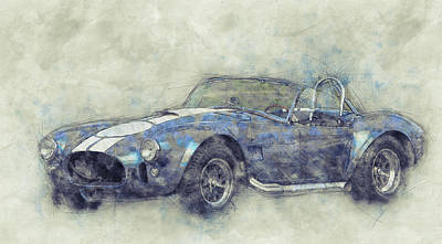 Transportation Mixed Media - AC Cobra - Shelby Cobra - 1962s - Automotive Art - Car Posters by Studio Grafiikka