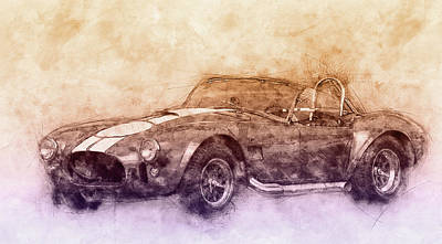 Transportation Mixed Media - AC Cobra - Shelby Cobra 2 - 1962s - Automotive Art - Car Posters by Studio Grafiikka