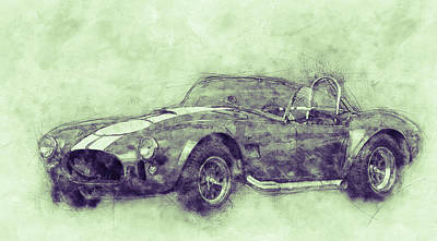 Transportation Mixed Media - AC Cobra - Shelby Cobra 3 - 1962s - Automotive Art - Car Posters by Studio Grafiikka