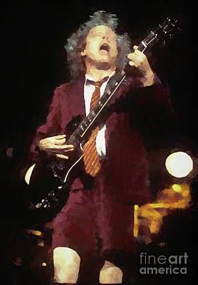 Photograph - Angus Young Oil Painting Enlargments by Concert Photos