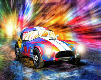 Mixed Media - Shelby Cobra Roadster In The Rain by Mark Tisdale