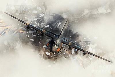 C130 Digital Art - Ac130 Gunship Painting by J Biggadike