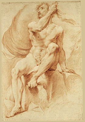 Study Of A Nude Drawing - Academy Study Of A Male Nude Seated On A Rock   by Jean-Francois Gilles Colson