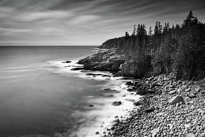Photograph - Acadia Coastline - B/w by Michael Blanchette