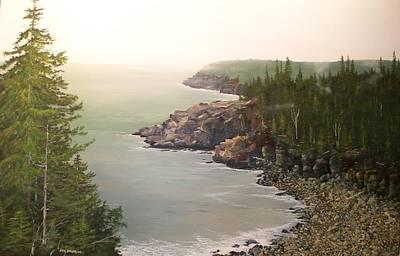 Acadia Maine Morning Mist Art Print