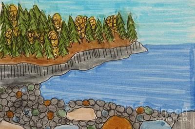 Maine Beach Drawing - Acadia National Park by Jana Kelly