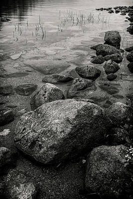 Photograph - Acadia National Park Rocks In Lake -bnw-img_6452 by Greg Kluempers