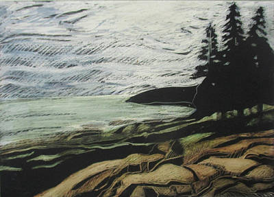 Drawing - Acadia - Ocean Path View by Grace Keown