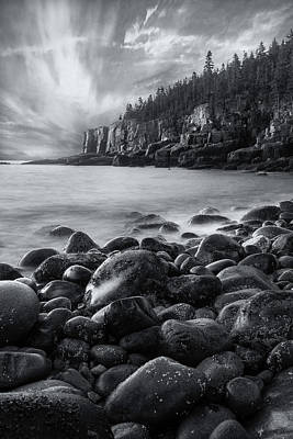 Coastal Maine Photograph - Acadia Radiance - Black And White by Thomas Schoeller