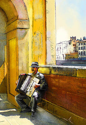 Accordeonist In Florence In Italy Art Print by Miki De Goodaboom