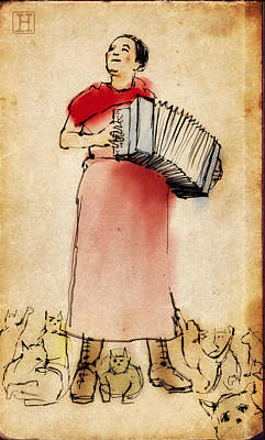 Accordion Drawing - Accordian Player With Cats by H James Hoff