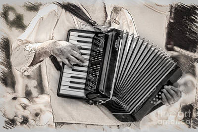Accordion Player Art Print by Danuta Bennett