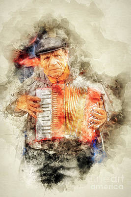Digital Art - Accordionist Paris by Jack Torcello