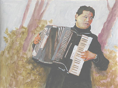 Accordian Painting - Accordionist by Robert Bissett