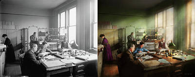Photograph - Accountant - The- Bookkeeping Dept 1902 - Side By Side by Mike Savad