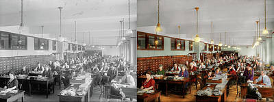 Workaholics Photograph - Accountant - Workaholic 1923 - Side By Side by Mike Savad
