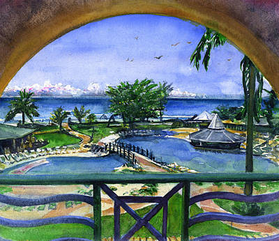Painting - Accra Beach Hotel Barbados by John D Benson