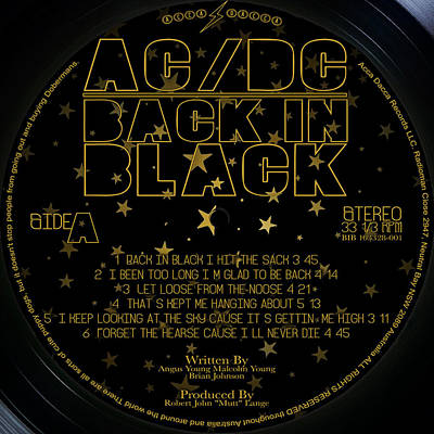 Acdc Back In Black Record Label Original