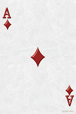 Digital Art - Ace Of Diamonds Over White Leather  by Serge Averbukh