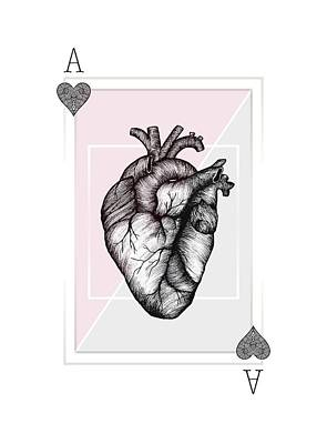 Love Drawing - Ace Of Hearts by Barlena