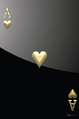 Digital Art - Ace Of Hearts In Gold On Black by Serge Averbukh