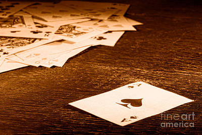 Ace Of Spade - Sepia Art Print by Olivier Le Queinec