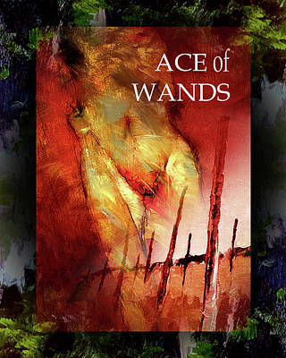 Ace Of Wands Painting - Ace Of Wands by Lon Brauer