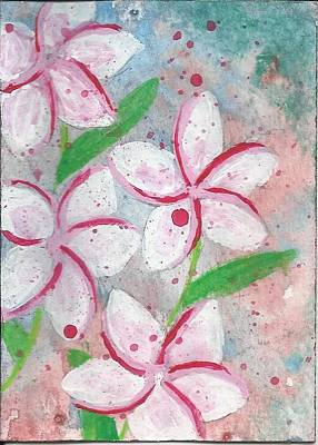 Aceo Card With Pink Flowers Original